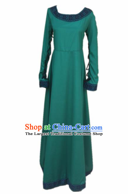 Europe Medieval Traditional Farmwife Costume European Maidservant Green Full Dress for Women