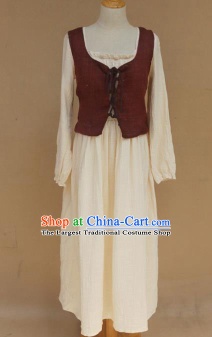 Europe Medieval Traditional Farmwife Costume European Maidservant White Dress for Women