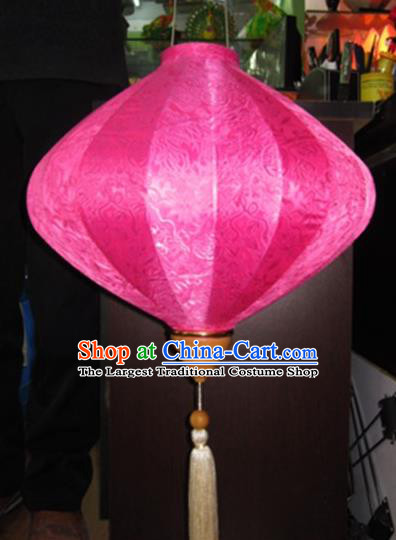Chinese Traditional New Year Lantern Handmade Pink Lanterns Ceiling Lamp