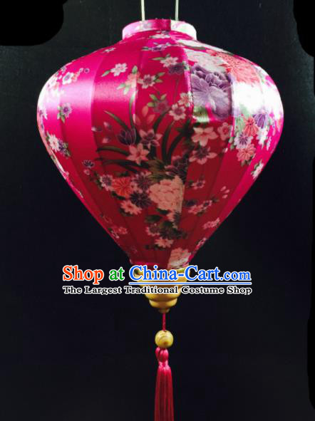 Chinese Traditional New Year Lantern Handmade Printing Rosy Lanterns Ceiling Lamp