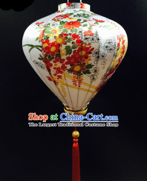 Chinese Traditional New Year Lantern Handmade Printing White Lanterns Ceiling Lamp