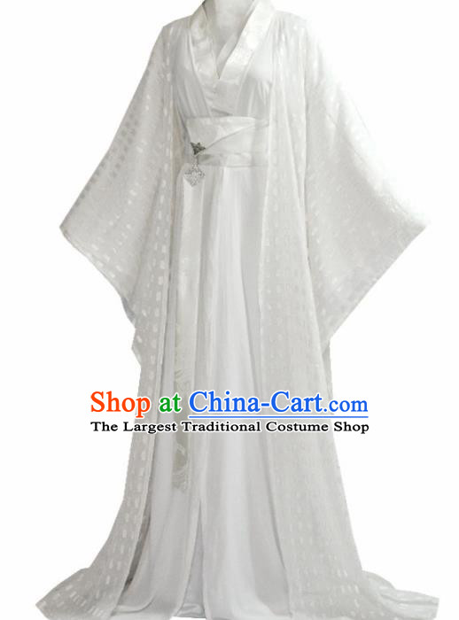 Traditional Chinese Han Dynasty Princess White Hanfu Dress Ancient Court Lady Costume for Women