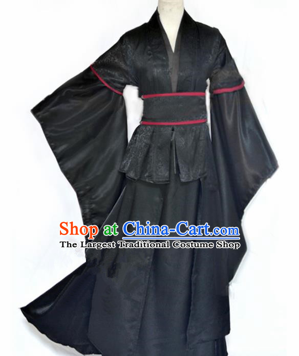 Traditional Chinese Cosplay Swordswoman Black Hanfu Dress Ancient Female Knight Costume for Women