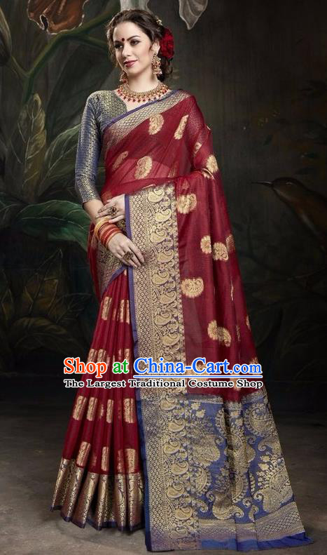 Asian India Traditional Bollywood Purplish Red Sari Dress Indian Court Queen Costume for Women