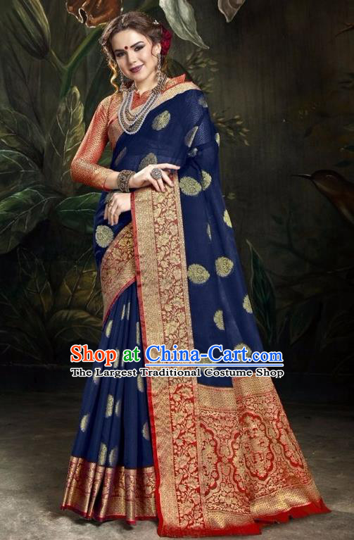 Asian India Traditional Bollywood Royalblue Sari Dress Indian Court Queen Costume for Women