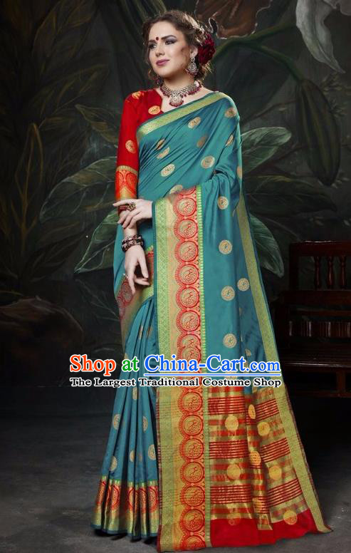 Asian India Traditional Bollywood Peacock Blue Sari Dress Indian Court Queen Costume for Women