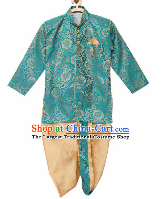 Asian India Traditional Costumes South Asia Indian National Green Shirt and Golden Pants for Kids