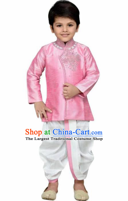 Asian India Traditional Costumes South Asia Indian National Pink Shirt and White Pants for Kids