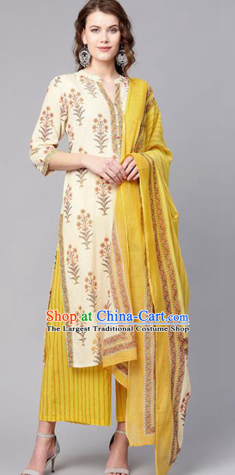 Asian India Traditional Punjabi Costumes South Asia Indian National White Blouse and Yellow Pants for Women