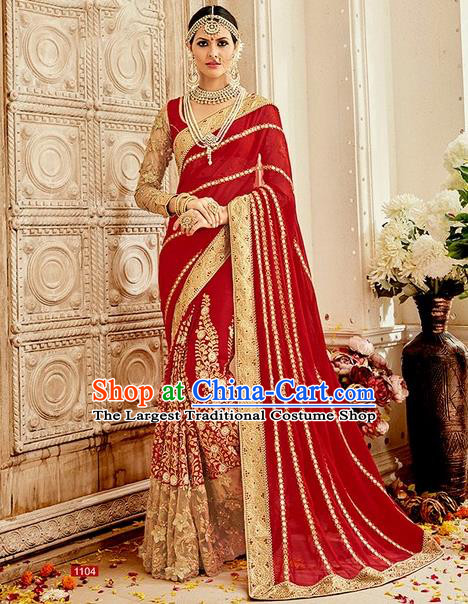 Asian India Traditional Bollywood Red Sari Dress Indian Court Queen Wedding Costume for Women