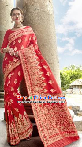 India Traditional Bollywood Red Sari Dress Asian Indian Court Wedding Bride Costume for Women