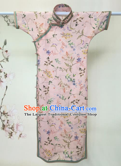 Traditional Chinese Printing Pink Cheongsam Tang Suit Qipao Dress National Costume for Women