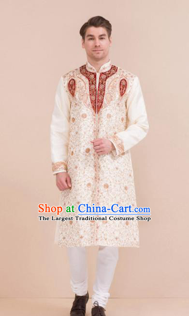 South Asian India Traditional Costume White Robe and Pants Asia Indian National Suit for Men