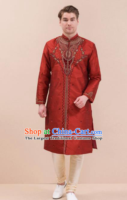 South Asian India Traditional Costume Red Robe and Pants Asia Indian National Suit for Men