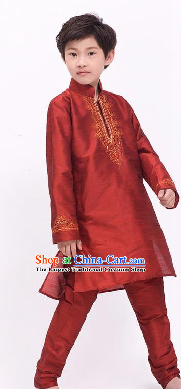 South Asian India Traditional Costume Purplish Red Shirt and Pants Asia Indian National Suit for Kids