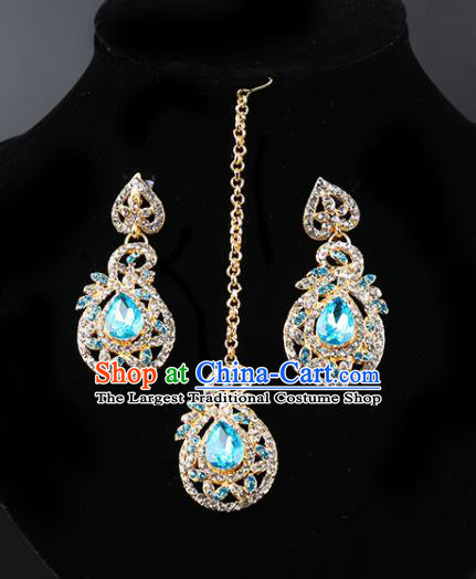 Indian Bollywood Princess Blue Crystal Earrings and Eyebrows Pendant India Traditional Jewelry Accessories for Women
