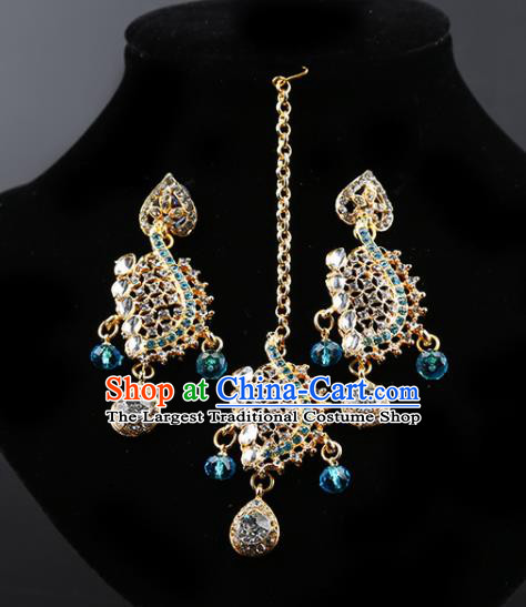 Indian Bollywood Blue Crystal Earrings and Eyebrows Pendant India Traditional Court Princess Jewelry Accessories for Women