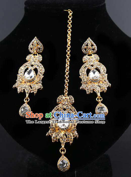 Indian Traditional Wedding Crystal Earrings and Eyebrows Pendant India Bollywood Court Princess Jewelry Accessories for Women