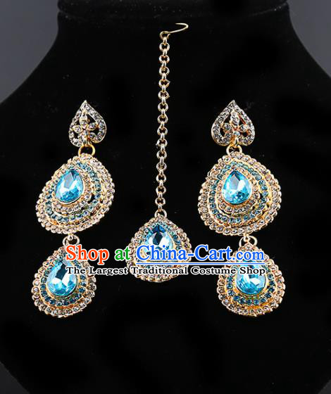 Indian Traditional Bollywood Blue Crystal Earrings and Eyebrows Pendant India Court Princess Jewelry Accessories for Women