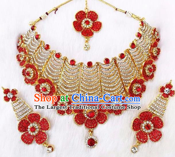 South Asian India Traditional Jewelry Accessories Indian Bollywood Red Crystal Necklace Earrings Hair Clasp for Women