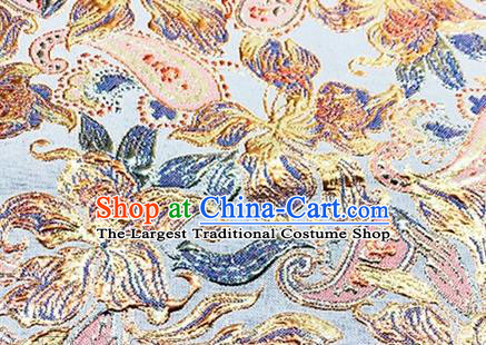 Chinese Traditional Peony Pattern Design Silk Fabric Blue Brocade Tang Suit Fabric Material