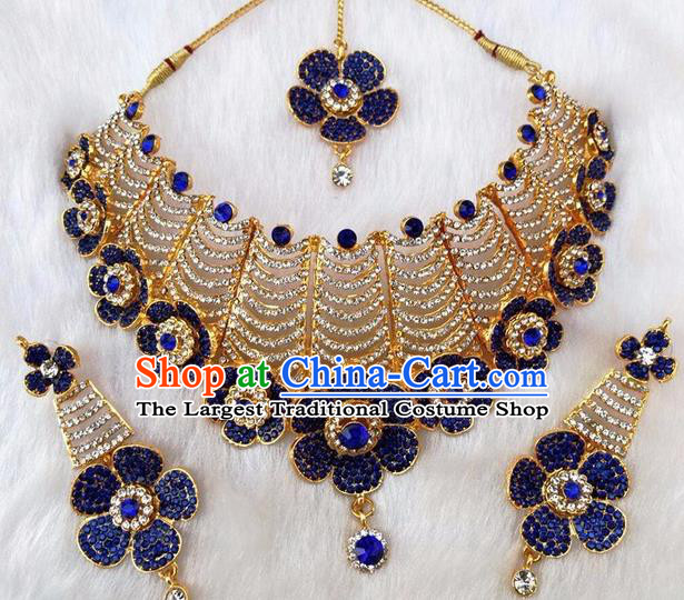 South Asian India Traditional Jewelry Accessories Indian Bollywood Blue Crystal Necklace Earrings Hair Clasp for Women