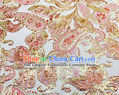 Chinese Traditional Peony Pattern Design Silk Fabric White Brocade Tang Suit Fabric Material