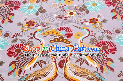 Chinese Traditional Cranes Pattern Design Silk Fabric Pink Brocade Tang Suit Fabric Material