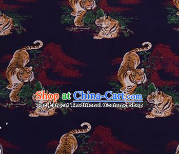 Chinese Traditional Tigers Pattern Design Silk Fabric Navy Brocade Tang Suit Fabric Material