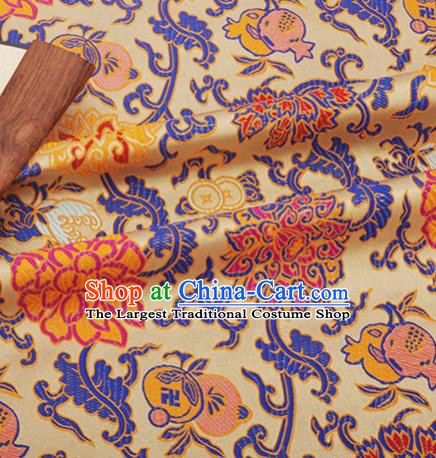 Chinese Traditional Lotus Pattern Design Silk Fabric Yellow Brocade Tang Suit Fabric Material