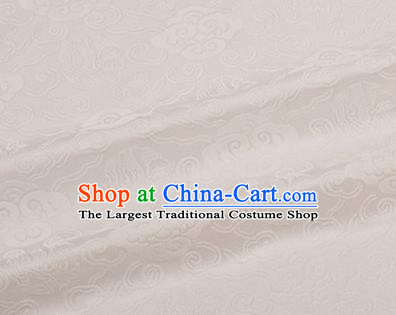 Chinese Traditional Clouds Pattern Design Silk Fabric White Brocade Tang Suit Fabric Material