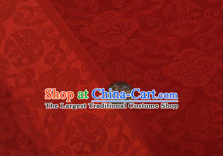 Chinese Traditional Clouds Pattern Design Silk Fabric Red Brocade Tang Suit Fabric Material