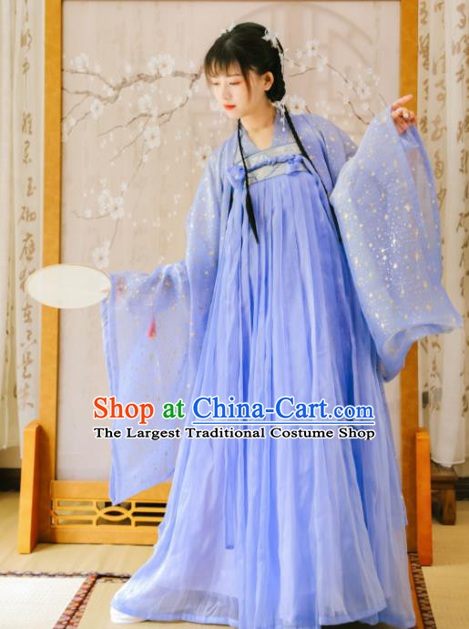 Ancient Chinese Tang Dynasty Court Lady Historical Costume Traditional Blue Hanfu Dress for Women