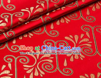 Chinese Traditional Pattern Design Red Brocade Wedding Hanfu Silk Fabric Tang Suit Fabric Material