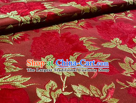 Chinese Traditional Peony Pattern Design Red Brocade Wedding Hanfu Silk Fabric Tang Suit Fabric Material