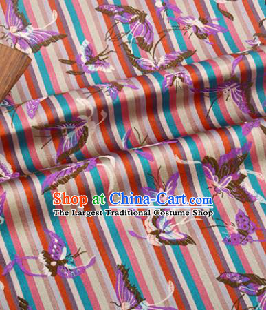 Chinese Traditional Purple Butterfly Pattern Design Brocade Silk Fabric Tang Suit Fabric Material