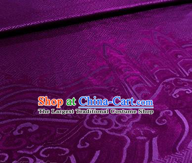 Chinese Traditional Pattern Design Purple Brocade Hanfu Silk Fabric Tang Suit Fabric Material