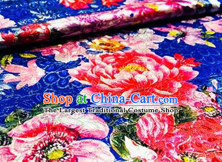 Chinese Traditional Red Peony Pattern Design Brocade Hanfu Silk Fabric Tang Suit Fabric Material