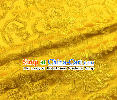 Chinese Traditional Lotus Pattern Design Golden Brocade Hanfu Silk Fabric Tang Suit Fabric Material
