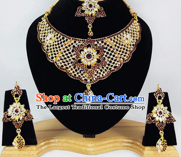Indian Traditional Bollywood Court Necklace Earrings and Eyebrows Pendant India Princess Jewelry Accessories for Women