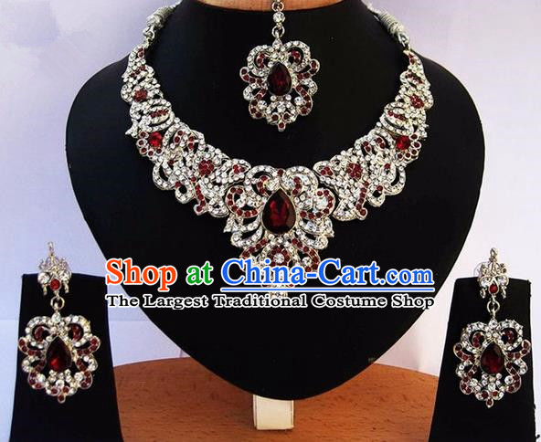 Indian Traditional Bollywood Tassel Necklace Earrings and Eyebrows Pendant India Princess Jewelry Accessories for Women