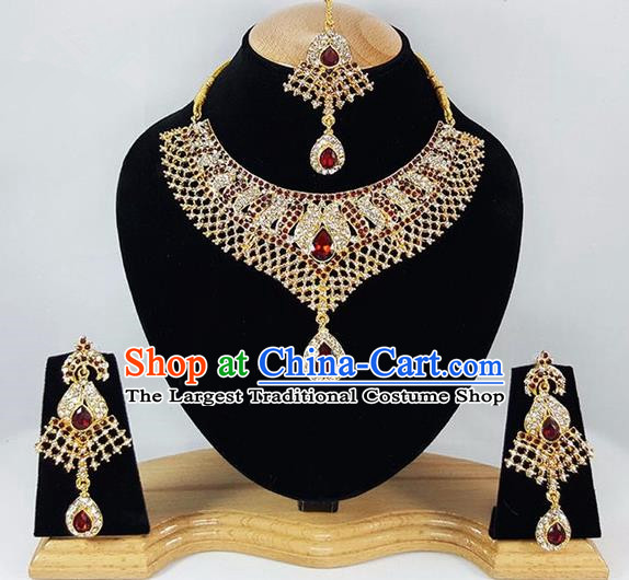 Traditional Indian Bollywood Crystal Golden Necklace Earrings and Eyebrows Pendant India Princess Jewelry Accessories for Women