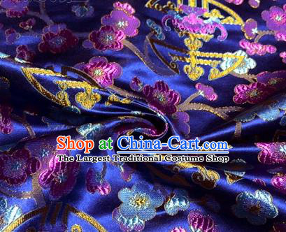Chinese Traditional Plum Blossom Pattern Design Royalblue Brocade Hanfu Silk Fabric Tang Suit Fabric Material