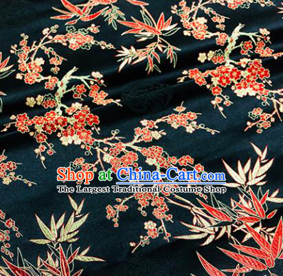 Chinese Traditional Bamboo Plum Blossom Pattern Design Black Brocade Silk Fabric Tang Suit Fabric Material