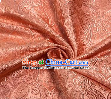 Chinese Traditional Hanfu Silk Fabric Cashew Pattern Design Pink Brocade Tang Suit Fabric Material