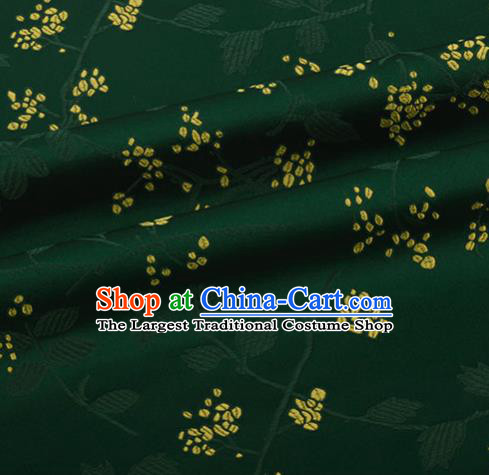 Chinese Traditional Hanfu Silk Fabric Pattern Design Deep Green Brocade Tang Suit Fabric Material