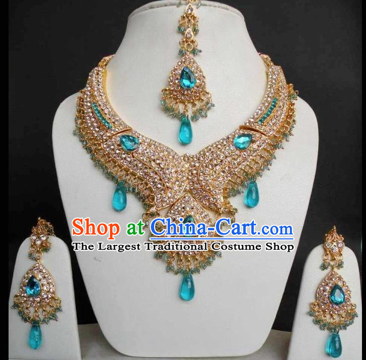 Traditional Indian Bollywood Jewelry Accessories India Princess Blue Crystal Necklace Earrings and Eyebrows Pendant for Women