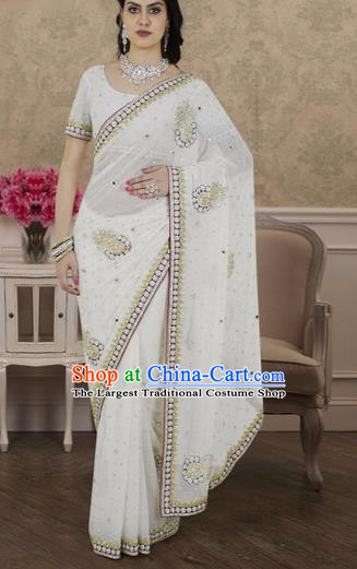 Indian Traditional Bollywood Court White Sari Dress Asian India Royal Princess Costume for Women