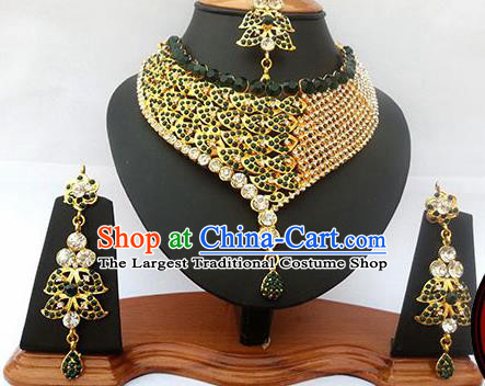 Traditional Indian Jewelry Accessories Bollywood Princess Green Crystal Necklace Earrings and Eyebrows Pendant for Women