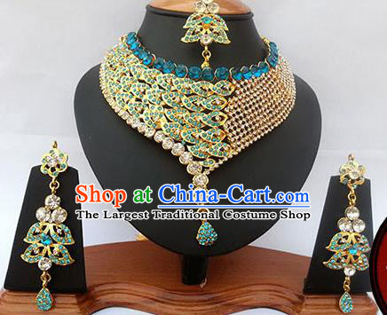 Traditional Indian Jewelry Accessories Bollywood Princess Blue Crystal Necklace Earrings and Eyebrows Pendant for Women